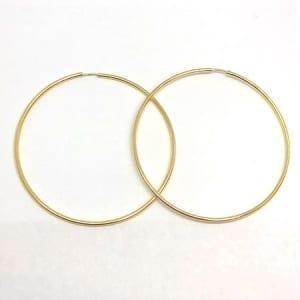Hoop Earring Plain 2mm 14K Yellow Gold Wire Lock