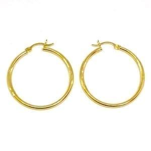 Hoop Earring Diamond Cut 2MM 14k Yellow Gold Latch Lock