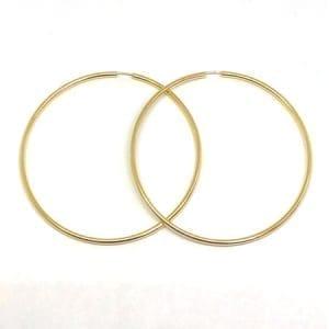 Plain Hoop Earrings 2.5MM 14K Yellow Gold Wire Lock