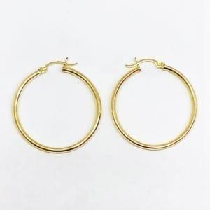 Hoop Earring Plain 2.5mm 14K Yellow Gold Latch Lock