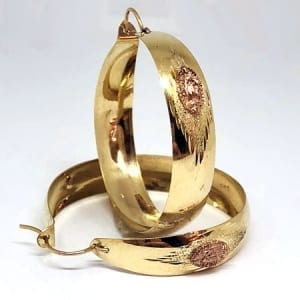2 Tone Hoop Earring Rose Color Virgin Mary on 14K Yellow Gold