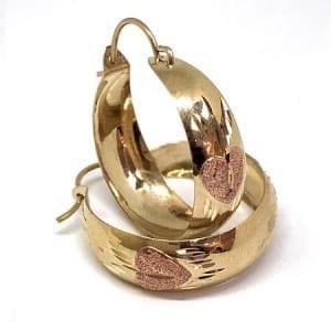 2 Tone Hoop Earring Rose Heart on 14K Yellow Gold