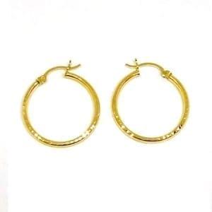 Hoop Earring Full Diamond Cut 2MM 14k Yellow Gold Latch Lock