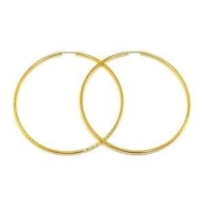 Full Diamond Cut Hoop Earrings 2.5MM 14K Yellow Gold Wire Lock