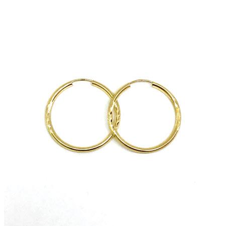 Diamond Cut Hoop Earrings 2.5MM 14K Yellow Gold Wire Lock