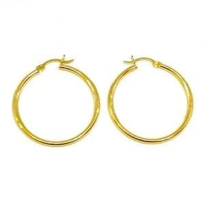 Hoop Earring Diamond Cut 2.5MM 14K Yellow Gold Latch Lock