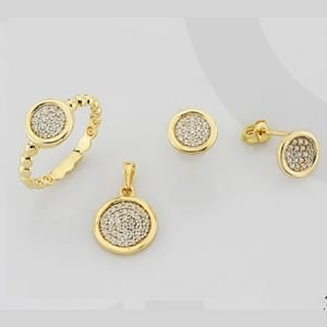 CZ Round Mini Set on 14k Yellow Gold