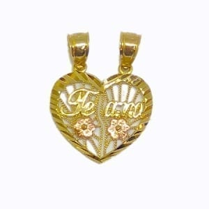"""2 Piece Of Hearts Written """"TE AMO"""" With Rose Color Flowers Pendant 14K Yellow Gold"""