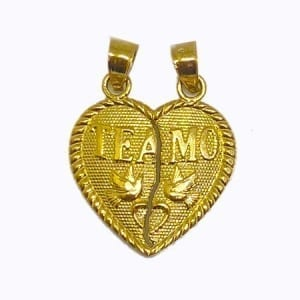 """2 Piece Of Hearts Written """"TE AMO"""" With Lovely Doves Pendant 14K Yellow Gold"""