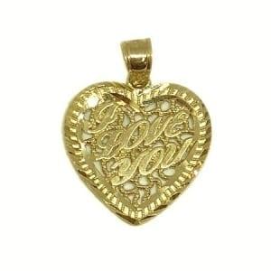 "Heart Wriiten ""I LOVE YOU"" Pendant 14K Yellow Gold"