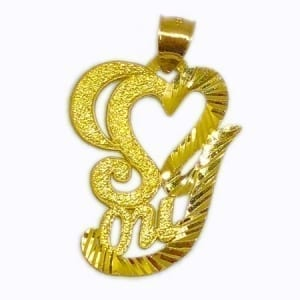 Heart & I LOVE YOU Together Pendant 14K Yellow Gold
