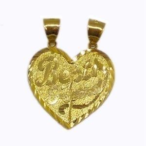 "2 Piece Of Hearts Written ""BEST FRIEND"" Pendant14K Yellow Gold"
