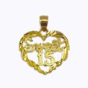 "Heart Written ""SWEET 15"" Pendant 14K Yellow Gold"
