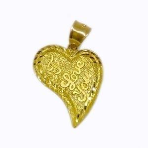 "Different Desing Heart Written ""I LOVE YOU"" Pendant 14K Yellow Gold"