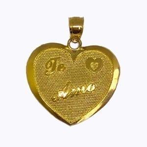 """Heart Written """" TE AMO"""" Pendant 14K Yellow Gold"""