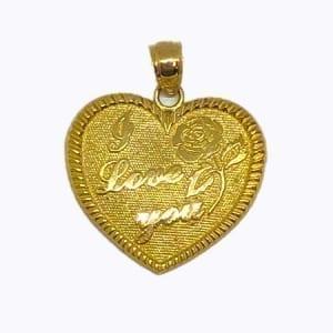 "Heart Written ""I LOVE YOU"" & Drawing  Flower Pendant 14K Yellow Gold"