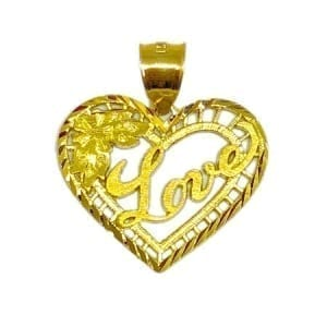 "Heart Written ""LOVE"" & Stunning Design Pendant 14K Yellow Gold"