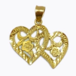2 Hearts With Elegant Design Flowers Pendant 14K Yellow Gold