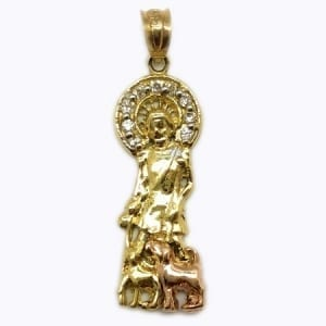 Cubic Zirconia Two-Tone Saint Lazarus Pendant 14K Yellow Gold