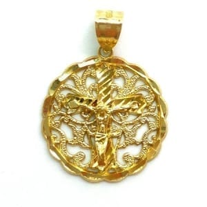 Chic Round Design with Jesus Crucifix Pendant 14K Yellow Gold
