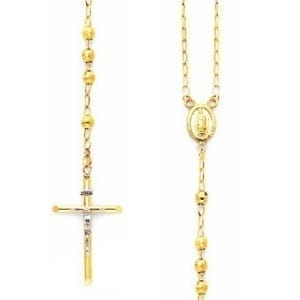 Disco Balls Rosary Necklace 14K Yellow Gold With Virgin Mary and Cross With Jesus Two-Tone