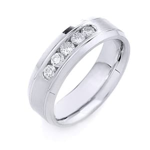 Modern Design  High Quality Finishing Solid Fashion Wedding Band 14K White Gold with Diamond 7MM Wide By 2.20MM Thick