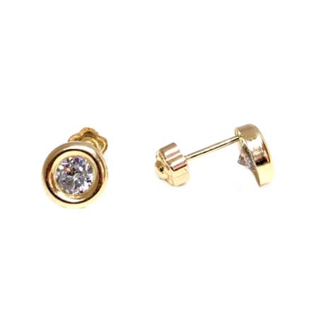 f1ff6eba7 Elegant Round With Cubic Zirconia Baby Stud Earrings on 14K Yellow ...