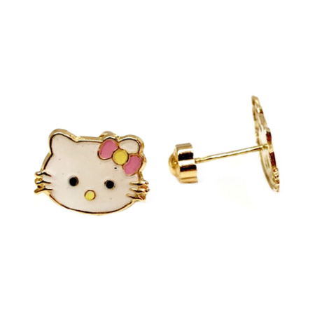 12e769b73 Very Cute Colored Hello Kitty Baby Stud Earrings on 14K Yellow Gold ...