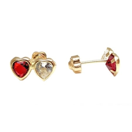 d4bb53a8e Very Cute Two Hearts Red Stone / Cubic Zirconia Baby Stud Earrings ...