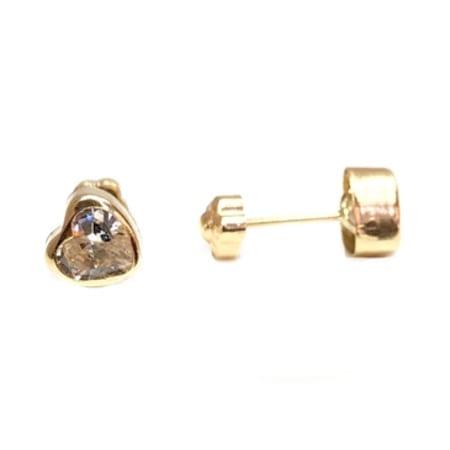 008e34db5 Elegant Heart With Cubic Zirconia Baby Stud Earrings on 14K Yellow ...