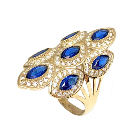 936b7d2b3e1e6 Elegant Design Diamond Shape With Cubic Zirconia & Blue Stones Fashion Lady  Ring 14K Yellow Gold.