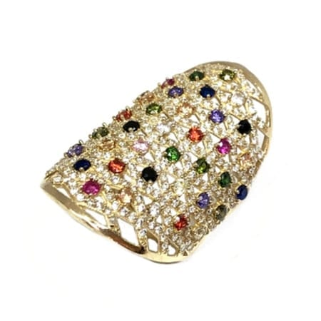 d4d8910a33f6b Elegant Design With Cubic Zirconia & Colored Stones Fashion Lady Ring 14K  Yellow Gold.
