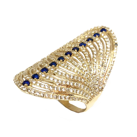 02bb722a49edc Elegant Design Oval Shape With Cubic Zirconia & Blue Stone Fashion Lady  Ring 14K Yellow Gold.