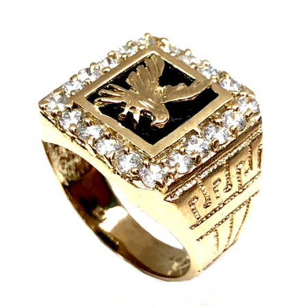 5d9db74e7 Modern Eagle Design With Cubic Zirconia Men's Onyx Ring On 14K ...