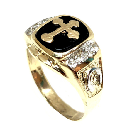 d1b9aed7bba59 Modern Cross Design With Cubic Zirconia Men's Onyx Ring On 14K White &  Yellow Gold.
